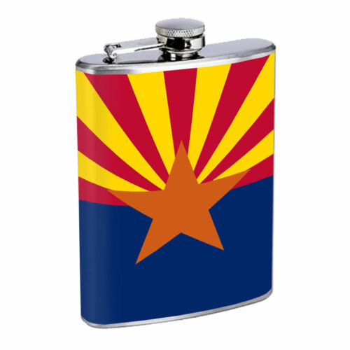 Arizona Flask D1 8oz Hip Stainless Steel State Flag Drinking Whiskey Liquor