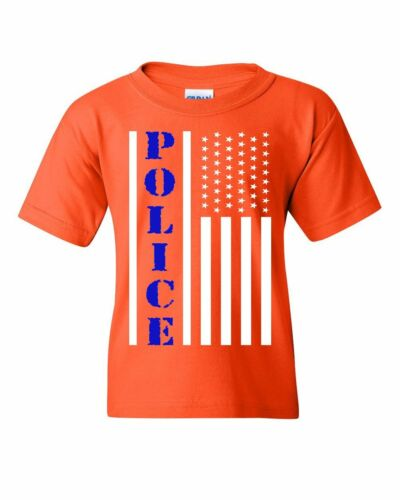 Police American Flag Youth T-Shirt Serve and Protect Law Enforcement Kids Tee