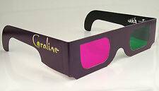 3D Glasses x 4 for Coraline 3-D Cardboard Green Magenta Lenses