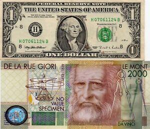 LOTTO-BANCONOTA-DA-1-DOLLARO-PIU-039-1-De-La-Rue-Giori-Leonardo-Da-Vinci-OMAGGIO