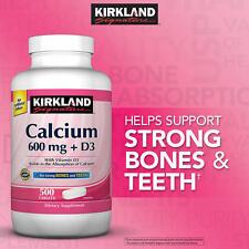 Kirkland Signature Calcium 600mg+D3, 500 Tablets *Maintain & Support Bones,Teeth