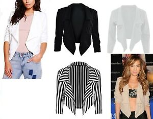 New Womens Waterfall Style Cropped Blazer Ladies Jacket Coat Top Plus Size 8-26