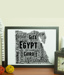 Egyptian Word Art Gift Personalised Egypt Word Art Map Add Your Own Words