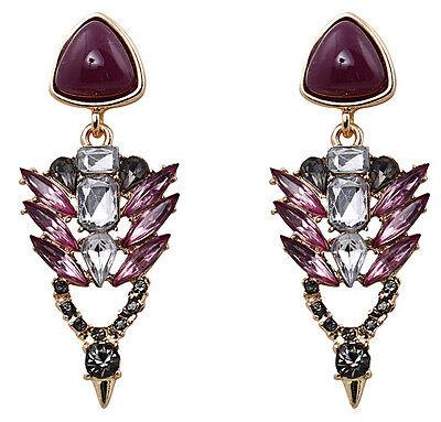 Unique Design Crystal Leaf Rivet Statement Flower Resin Triangle Stud Earrings
