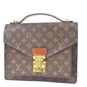 Authentic-LOUIS-VUITTON-Monceau-Hand-Bag-Monogram-Leather-Brown-M51185-78MF197