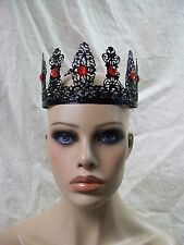 Fancy Black & Red Metal Filigree Crown Goth Renaissance Medieval Evil Queen King