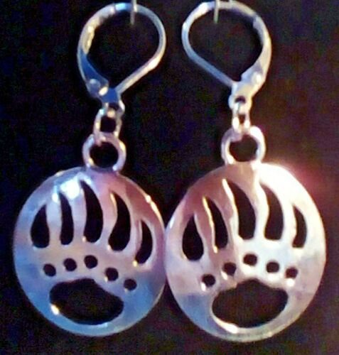 Bear Paw charm 925 stamped Lever Back Earrings