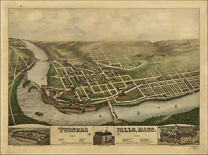 1877 TURNERS FALLS map MASSACHUSETTS GENEALOGY atlas poster FRANKLIN county 87