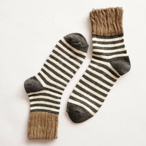 5 Pairs Stripe Womens Cashmere Wool Thick Warm Soft Comfort Solid Casual Socks