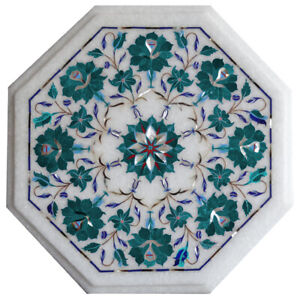 """Details about  /12/"""" white Marble Table Top Inlay marquetry work handmade home decor"""