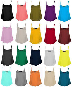 New-Womens-Ladies-Plain-Sleeveless-Cami-Swing-Vest-Top-Strappy-Flared-Plus-Size