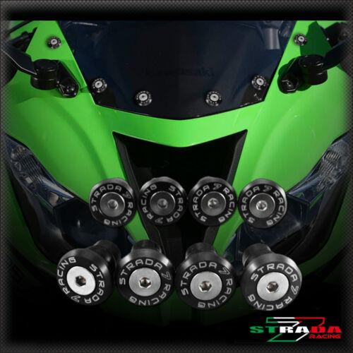 Strada 7 Racing CNC Windscreen Bolts M5 Wellnuts Set Yamaha R1 1999-2008 Black