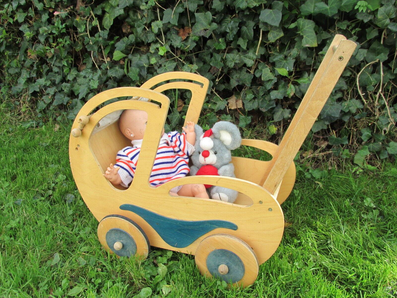 Romantischer Puppenwagen mit Sonnenschutz shabby groß Kinderwagen Vintage Puppe