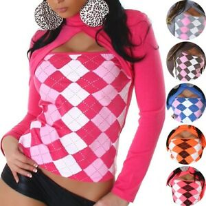 Camisa-manga-larga-camuflaje-sueter-roll-cuello-Karo-motivo-brillo-34-36-38-XS-S-M