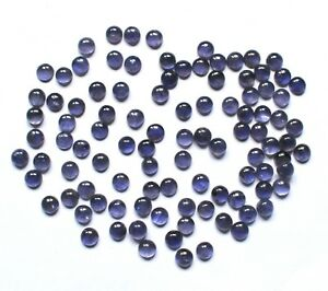 Natural Iolite Loose Gemstone Round Cabochon 3.5 To 9MM Lot S297