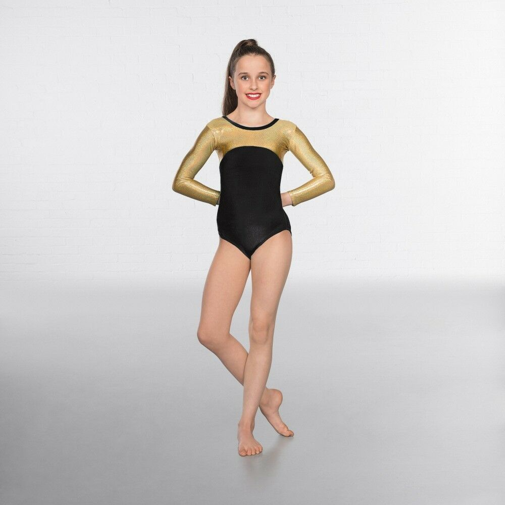 1st Position Velour gold Hologram Long Sleeved Dance Gymnastics Leotard