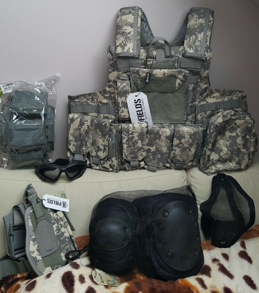 New AIRSOFT Tactical Army Kit   Vest Pouch Mask Knee pads Goggles Set RRP