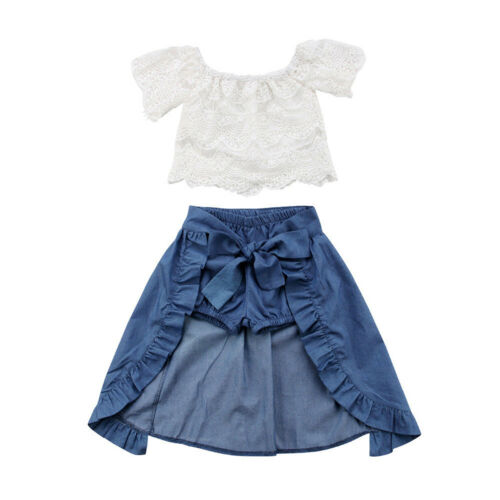 Baby Toddler Girl White Fashion Cotton Crop Top and Pants Summer Casual Outfit