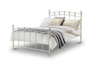 Julian Bowen Sophie 150cm Ivory Stone White Metal King Size Bed