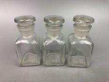 3 Vintage Tiny Lab Glassware Bottles Ground Stopper