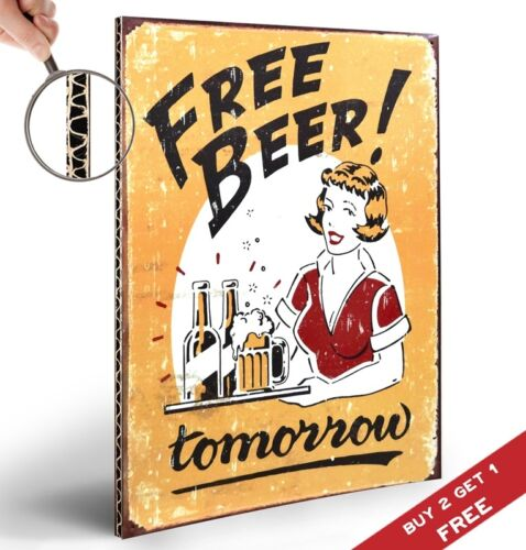 HILARIOUS FREE BEER TOMORROW POSTER A4 SIGN WALL ART FOR PUBS Retro Vintage