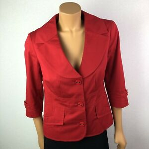 Vex-Collection-Red-Blazer-Jacket-Fully-Lined-3-4-Sleeves-Sz-XL