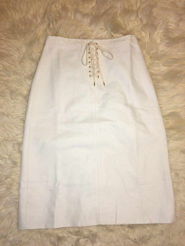New J Crew Sailor Tie Skirt White Sz 10 G4471