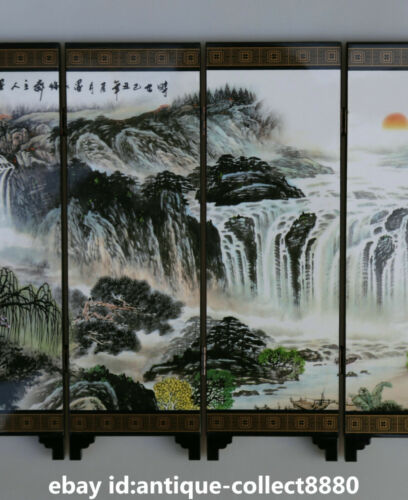 China Lacquer Ware Hand Painting Ancient Landscape Ladies Screen Folding Screen
