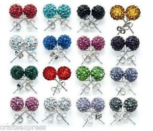 Image Is Loading 10mm Stud Earrings Shamballa Crystal Clay Disco Ball