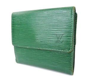 cfc9a7d3ea24 Auth LOUIS VUITTON Elise Double Snap Green Epi Bifold Wallet Coin ...