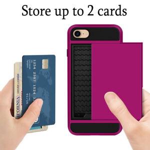 Purple-Drop-Protection-Tough-Sliding-Card-Slots-Case-Cover-For-iPhone-7-7-Plus