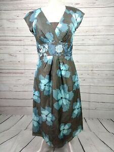 Fenn-Wright-Manson-Blue-Floral-Silk-Linen-Embroidered-Waist-Dress-Size-UK-10