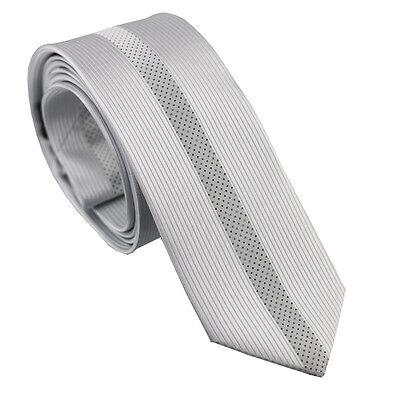 Coachella Ties Shiny Silver White Stripe with Black Dots Necktie Skinny Tie 6cm
