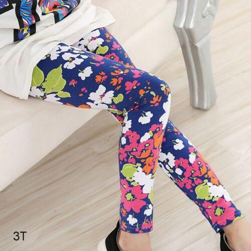 Trousers Cotton Elastic Flower Printed Kids Girl Leggings Baby Pants Floral