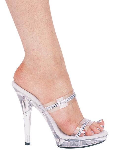 596a1f67bd18 Ellie M-Loretta platform 5 inch high heel clear rhinestones prom pageant  shoes