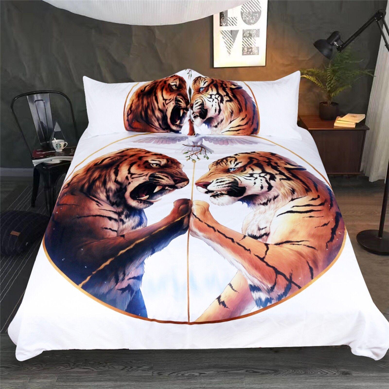 3D Tiger Animal 424 Bed Pillowcases Quilt Duvet Cover Set Single Queen CA