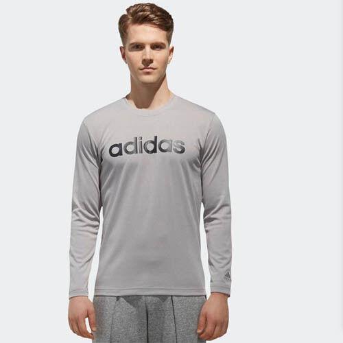 Adidas DH3983 Férfi ATHLETICS ESS lineáris póló hosszú ujjú póló szürke
