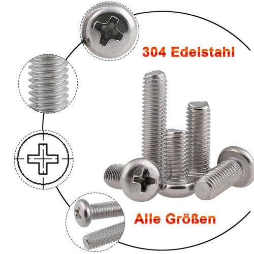 Linsenkopfschrauben DIN7985 Edelstahl A2 V2A Kreuz M1 1,2 1,4 1,6 2 2,5 3 M4~M10
