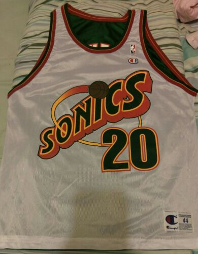 NWOT Champion Reversible Seattle Supersonics Gary ton NBA L 44 #20 jersey USA