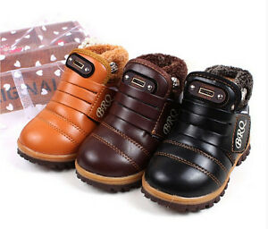 826894202acbec Hot Kids Children Girls Boys Snow Ankle Boots Leather Winter Warm ...