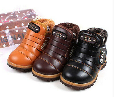 Hot Kids Children Girls Boys Snow Ankle Boots Leather Winter Warm Thicken Shoes