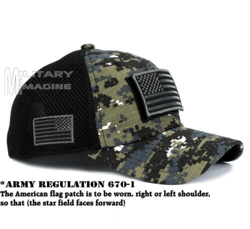 3 of 6 USA American Flag Hat Black Digital Detachable Patch Micro Mesh Tactical  Cap f8121e70d05