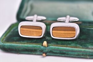 Vintage-Sterling-Silver-cufflinks-with-an-Art-Deco-Tigers-eye-stone-G501