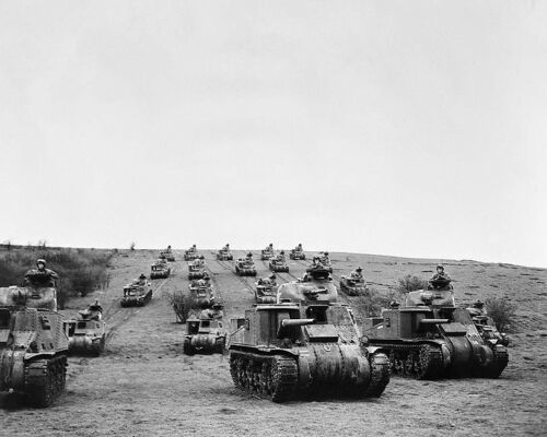 AMERICAN TANKS & TROOPS IN ENGLAND WWII 11x14 SILVER HALIDE PHOTO PRINT