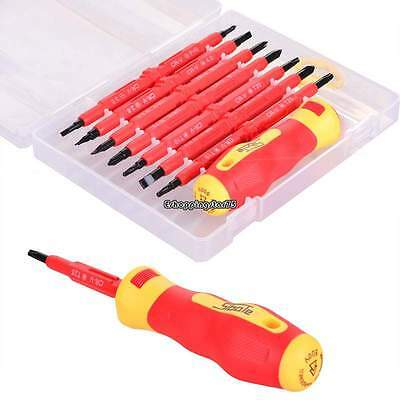 Durable 7pc Electrician's Insulated Electrical Hand Screwdrive AccessoryTool RED