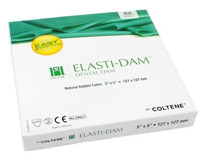 "Dental Coltene Hygenic Elasti-Dam Natural Rubber Latex 5""X5"" &127X127mm 52pcs"