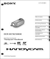 Sony Dcr-sx73e Dcr-sx83e Camcorder Operating Guide Manual