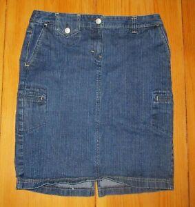 57d401fbc7 Ann Taylor Loft Jean Skirt Pencil Straight Blue Denim Cotton Stretch ...