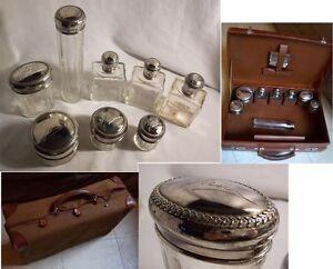 VALISE-de-TOILETTE-cuir-1920-flacons-CRISTAL-et-ARGENT-graves-JANE-decor-LAURIER
