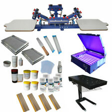 4color 2station Screen Printing Kit Silk Press Printer With Dryer Materials Etc